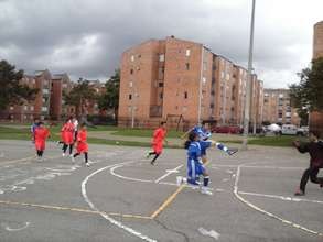 Playing a soccer match in Bogota